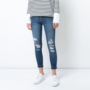 J BRAND distressed skinny ankle jeans